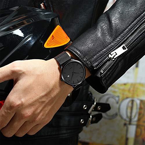 CRRJU Men\'s Luxury Watches Slim Fashion Casual Waterproof Date Quartz Watch for Men,7MM Black/Grey