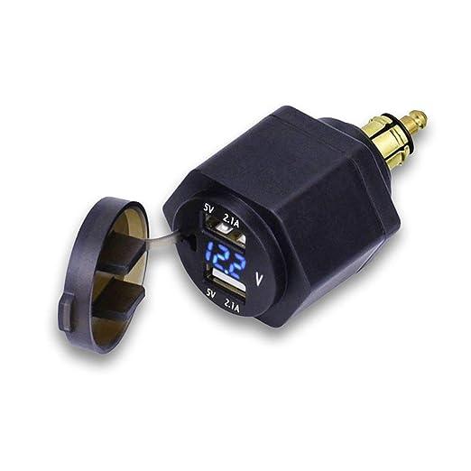 Enchufe de Pared, Adaptador Dual de Cargador USB con voltímetro LED para Motocicleta BMW/teléfono móvil/iPhone/GPS/SatNav