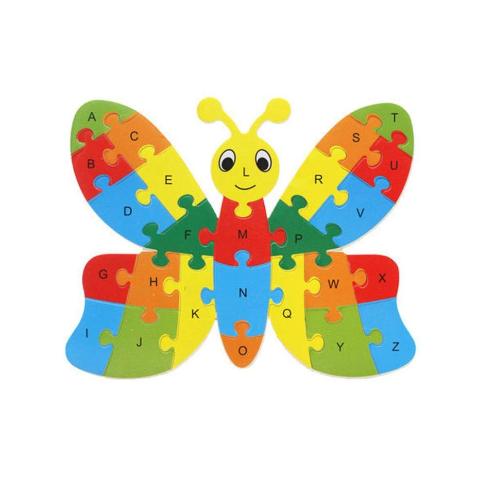 Roysberry Toys - Wooden Educational Preschool Toys Dragonfly 3D Puzzle Shape Color Recognition Geometric Board Block Alphabet Puzzles Toys - Birthday Gift Toy Jigsaw Puzzles for Kids(26 pcs)