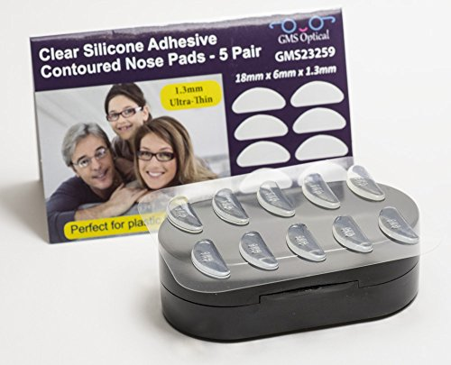 GMS Optical® 1.3mm Ultra-Thin Anti-slip Adhesive Contoured Silicone Eyeglass Nose Pads with Super Sticky Backing - 5 Pair - Slip Glasses Anti