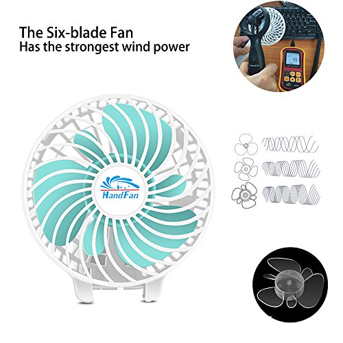 HandFan Portable Handheld Fan, Mini Hand Fan/Small Desk Fan Folding Change 5-18 Hours Working Time Personal Fan Rechargeable Battery/USB Operated Electric Fan Handle is 5200mA Power Bank(Power White) by HandFan (Image #4)