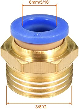Acoplamientos neum/áticos rectos para conexi/ón r/ápida G 3//8 macho x 16 mm tubo OD 2 unidades Sourcingmap