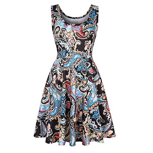 Paisley Mix - SANCABA Sleeveless Midi Dress Tank A-Line Dress Casual Floral Printed Beach Flowy Sundress, Mix Paisley, X-Large 12-14