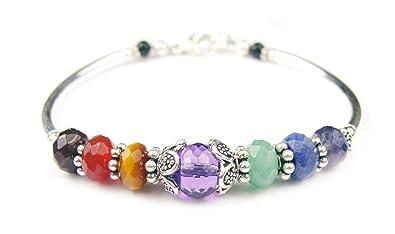 DAMALI 7 Chakra Handmade Sterling Silver Tennis Style Gemstone Healing CrystalTherapyYoga Reiki Meditation Bracelet 0lZKk