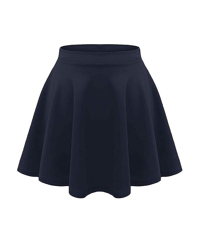 GirlzWalk Kids Girls Casual Mini Stretch Waist Flared Plain Pleated Skater Skirt
