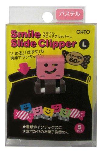 Ohto Smile Slide Clipper Paper Clip - Large - Pastel Color Set - Pack of 5