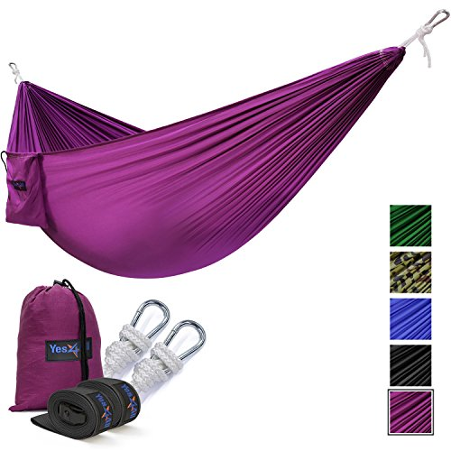 Yes4All Lightweight Double Camping Hammock with Strap & Carry Bag – Nylon Parachute Hammock / Lightweight Portable Hammock for Camping, Hiking