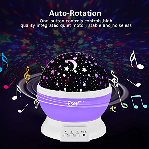 [Update]Esonstyle Musical Night Light,360 Rotating Star Lamp Baby Musical Lamp with Rechargeable Battery,12 Songs to Relax for Sleep Kids Babies Birthday Children Day Christmas Gift by esonstyle (Image #2)