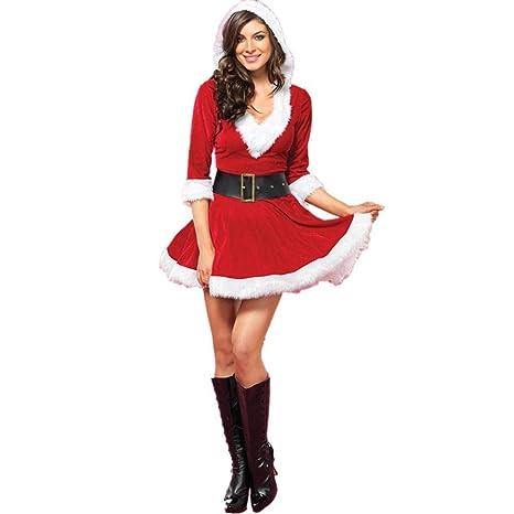 Surenhap Disfraz de Navidad Mujer Mrs Claus Vestido ...