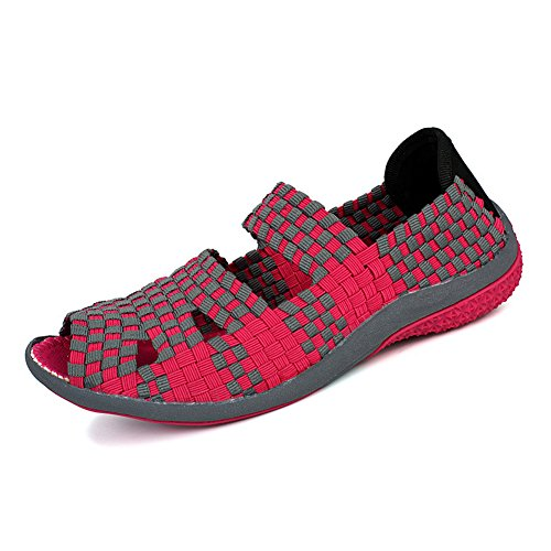 XiaoYouYu Women's Shape-Ups Peep-toe Trainers Fitness Walking Toning Shoes Rose Red dgn0v4FqG