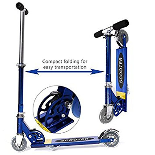 Kaluo Kick Scooter City Urban Commuter Push Scooter for Kids-Height Adjustable, Easy-Folding, 2 Big PU Wheels, Rear Mudguard, Rear Brake/Suspension