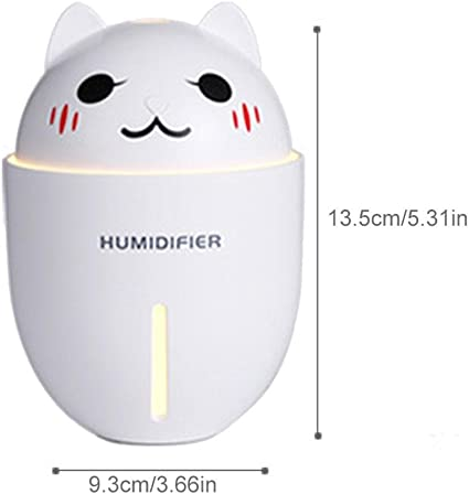 TEEPAO Cool Mist Humidifier, Portable USB Diffuser Humidifiers for Women Baby Kids Use on Desktop Car Bedroom, Small Cute Cat Shape Quiet with LED