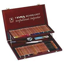 LYRA Rembrandt Polycolor Art Pencils, Set of 100 Pencils Plus Accessories, Assorted Colors (2004200)