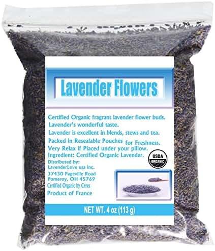 LavenderLove French Lavender Flowers USDA Organic Dried Culinary Lavender 4oz
