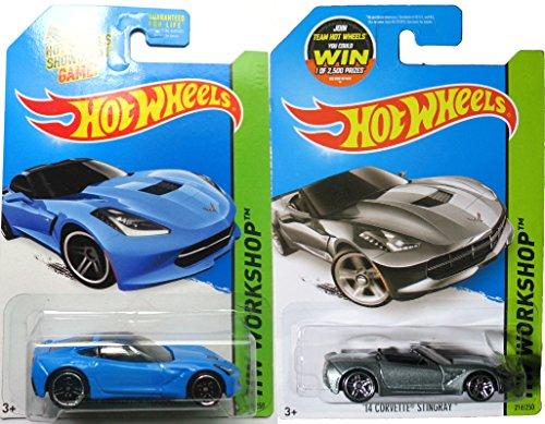 Hot Wheels Stingray Set Corvette Convertible HW Garage Blue & Silver in Protective Cases