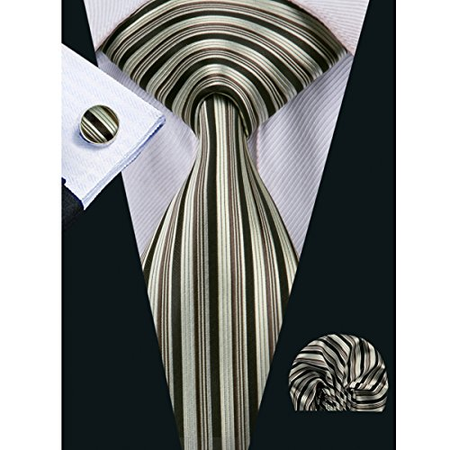 - Barry.Wang Designer Ties for Men Gold Stripe Necktie Handkerchief Cufflink