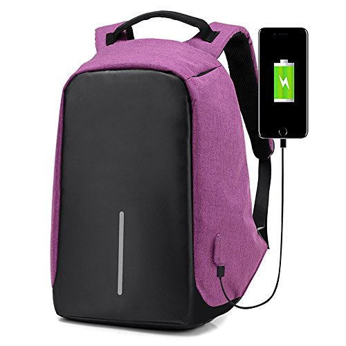 Laptop Backpack with USB Charging Port Anti-Theft Waterproof Travel School Book Bag Large Capacity Casual for College Student Work Men & Women,purple from OASD