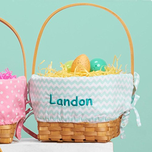 Personalized Woodchip Easter Basket with Custom Designed Liners (Large, Mint Chevron) -