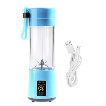 Mini Batidora Individual, Portátil Batidora de vaso 400ML USB Recargable Juicer Milkshake Fruit Blender con 6 hojas(Blue): Amazon.es: Hogar