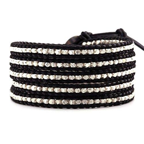Chan Luu Sterling Silver Wrap Bracelet on Black Leather by Chan Luu