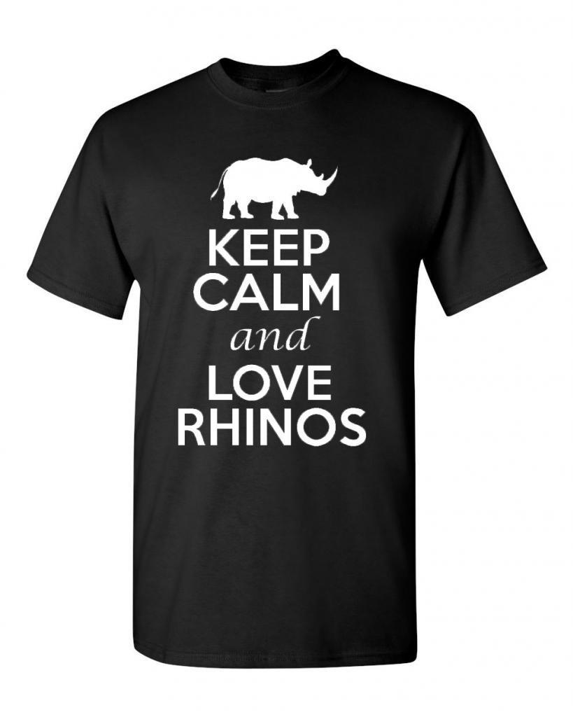 Keep Calm And Love Rhinos Animal Lover Adult T Shirt Tee