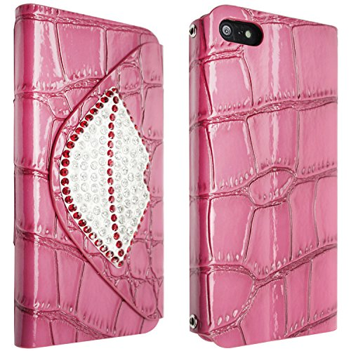 niceeshop(TM) Hot Pink Bling Lip Crocodile Print Foldable Stand Synthetic Leather Case Cover With Chain for iPhone 5 5S With Screen Protector