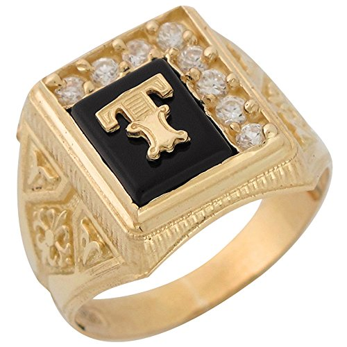 14k Yellow Gold Black Onyx White CZ Accented Mens Classic Letter T Initial Ring -