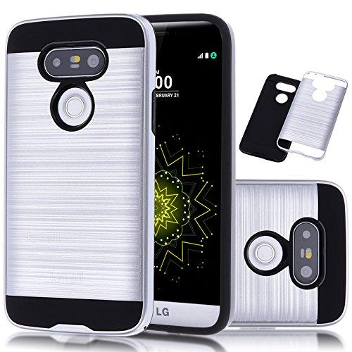 Tough Hybrid Dual Layer Case for LG G5 (Silver) - 7