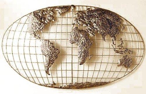 SEI World Map Wall Art - Iron Metal Frame w/Gold Finish - 3D Sculpture -