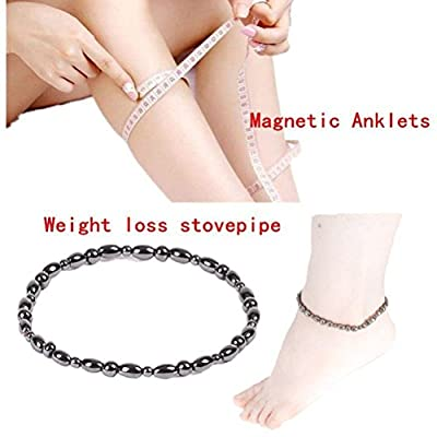 ROSENICE 2pcs Hematite Magnetic Therapy Anklets Magnetic Bracelets Therapy Healing Jewelry for Men Women Arthritis and Carpal Tunnel Pain Relief (Black)