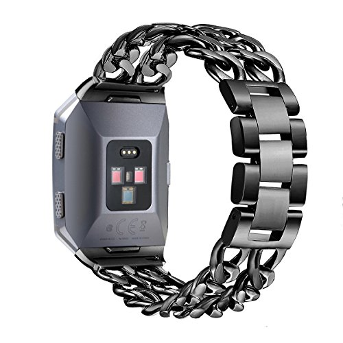 For Fitbit Ionic Bands, bayite Replacement Stainless Steel Metal Chain Bands Adjustable Folding Clasp for Fitbit Ionic Black (Mens Watch Cowboys Sport)