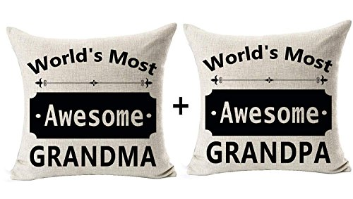 Andreannie Set of 2 Best Gift for Grandfather Grandmother World's Most Awesome Grandma Grandpa Sweet Blessing Cotton Linen Throw Pillow Case Cushion Cover Home Office Decorative Square 18 X 18 Inches