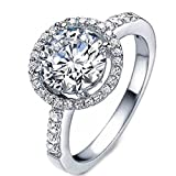(US) Rurah Women 925 Sterling Silver Halo Rings Promise Engagement Rings Zircon Wedding Ring,7#