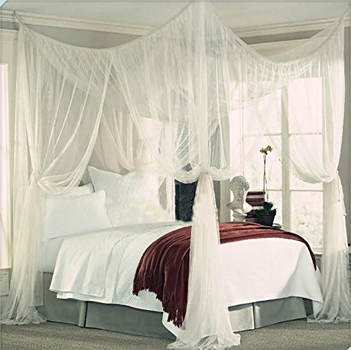 """Home Cal 4 Corner Mosquito Net Anti-insect Post Bed Canopy Increase Space King Size White L78.7""""xW82.6""""xH94.4"""" from Home Cal"""