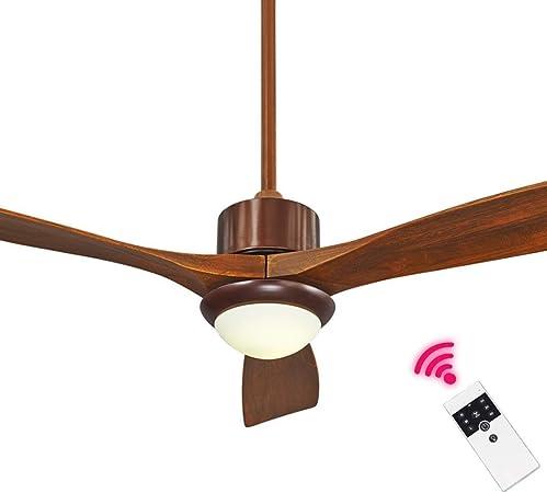 LAZ Luz de Ventilador LED de Techo Luz de Ventilador Industrial con 3 Ventilador de Madera Maciza Restaurante Dormitorio Dormitorio Lámpara de Ventilador de Control Remoto: Amazon.es: Hogar
