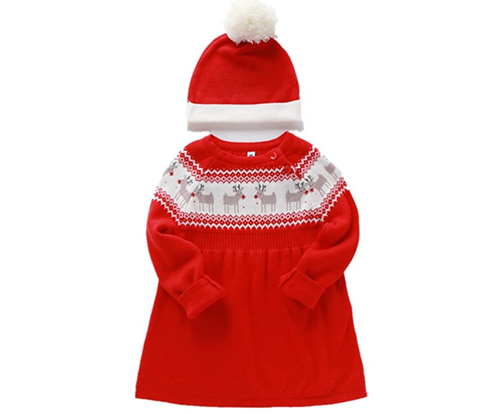 Comfybuy Baby Teen Girls Christmas Knitted Sweater Princess Dress Long Sleeve with Hat