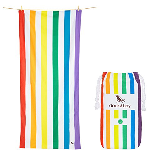 Microfiber Beach Towel & Travel Pouch - Quick Dry, Lightweight, Absorbent, Compact (Rainbow, Large 63x31