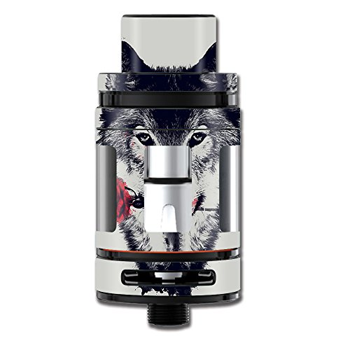 Skin Decal Vinyl Wrap for Smok Mini TFV8 Big Baby Beast Tank Vape Mod stickers skins cover / Wolf with rose in mouth