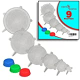 microwave plates plastic oval - Reusable SILICONE STRETCH LIDS (9 pack) - No More Cling Wrap - Universal Non-Toxic BPA Free Modern Clear Covers Fit Various Sizes Bowls, Jars, Cups, Cans, Casseroles, Pots, Pans, Plates or Bottles