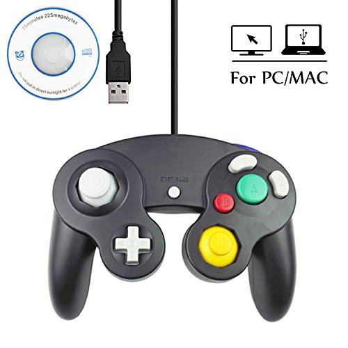 Mekela 5.8 feet Classic USB wired NGC Controller Gamepad resembles gamecube for Windows PC MAC (USB Black)