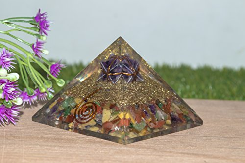 - Crocon Mix Chakra Gemstone Orgone Pyramid with in Amethyst Merkaba Energy Generator for Aura Cleansing, Reiki Healing, Chakra Balancing Spiritual Gift for Unisex Size- 2.5-3 Inch