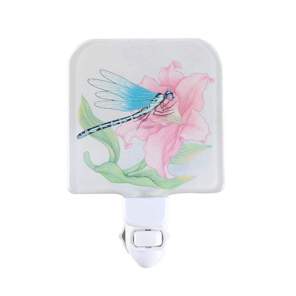 Liffyガラス赤ちゃん寝室プラグin NightライトChildsキッズ壁Nursery LEDポータブル夜ランプ B07CCG4KV4 15248 Lily & Dragonfly Lily & Dragonfly