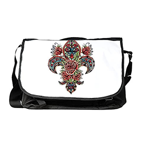 Royal Lion Laptop Notebook Messenger Bag Floral Fleur De Lis - Pansy Messenger