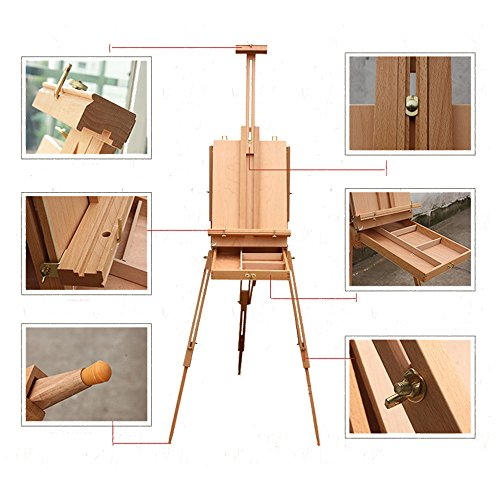 olymstore-french-easel-wooden-sketch-box-portable-folding-red-beech-art-artist-painters-tripod-new