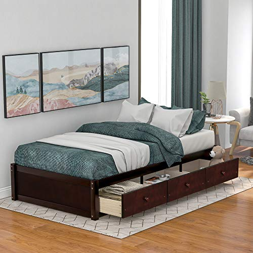 iWedn Twin Size Platform Bed with Storage, Wood Daybed Frame with Drawers, No Box Spring Needed (Cherry)
