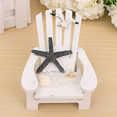 Buytra Miniature Fairy Garden Sea Beach Style Chair Ornament Outdoor Decor Home Article Wedding Cake Topper Decoration