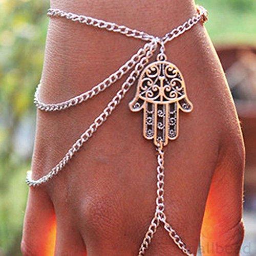 5starwarehouse A002 Armband mit Fingerring, Hand der Fatima, Retro-Design
