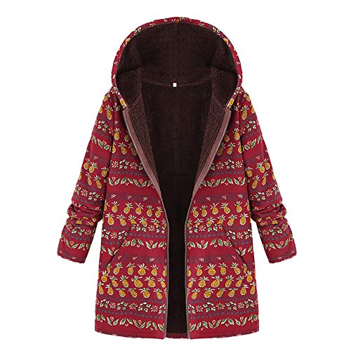 TOTOD Women Coat Jacket Boho Print Flannel Inner Cotton Linen Padded Hooded Loose Outerwear Oversize Plus Size Overcoat