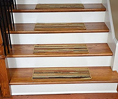 Dean Premium Carpet Stair Treads   Striation Stripes Beige 26u0026quot; X  9u0026quot; ...