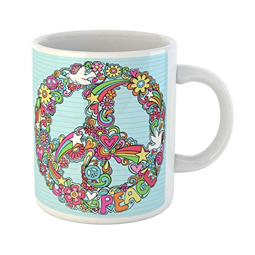 - Semtomn Funny Coffee Mug Psychedelic Groovy Peace Sign and Dove Doodles on Lined 11 Oz Ceramic Coffee Mugs Tea Cup Best Gift Or Souvenir